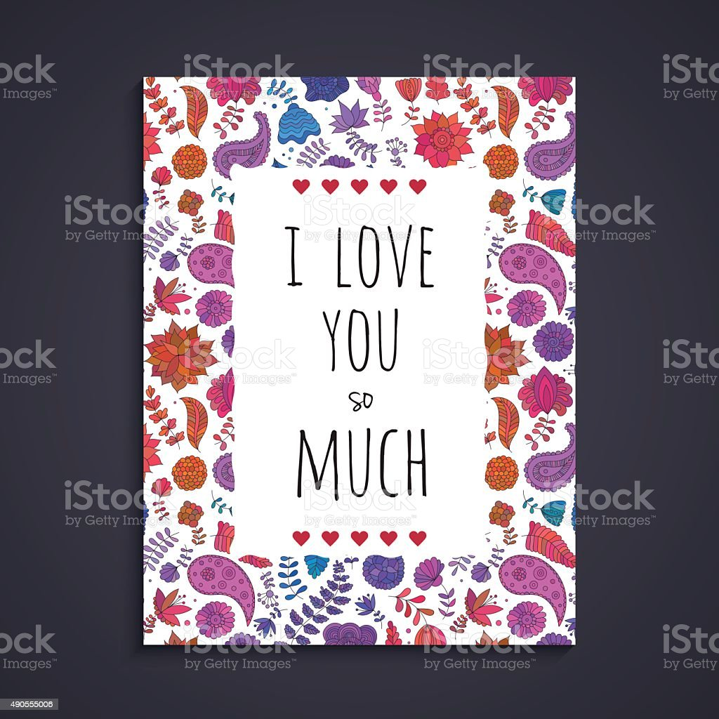 Doodle flowers greeting card template vector art illustration