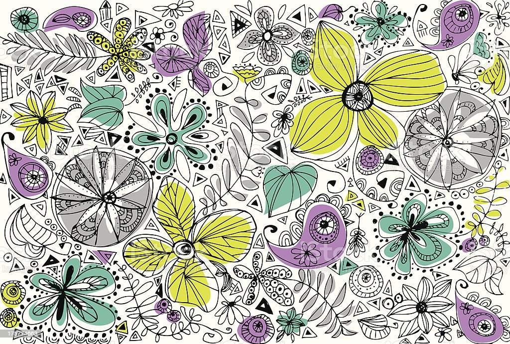 Doodle flowers royalty-free stock vector art