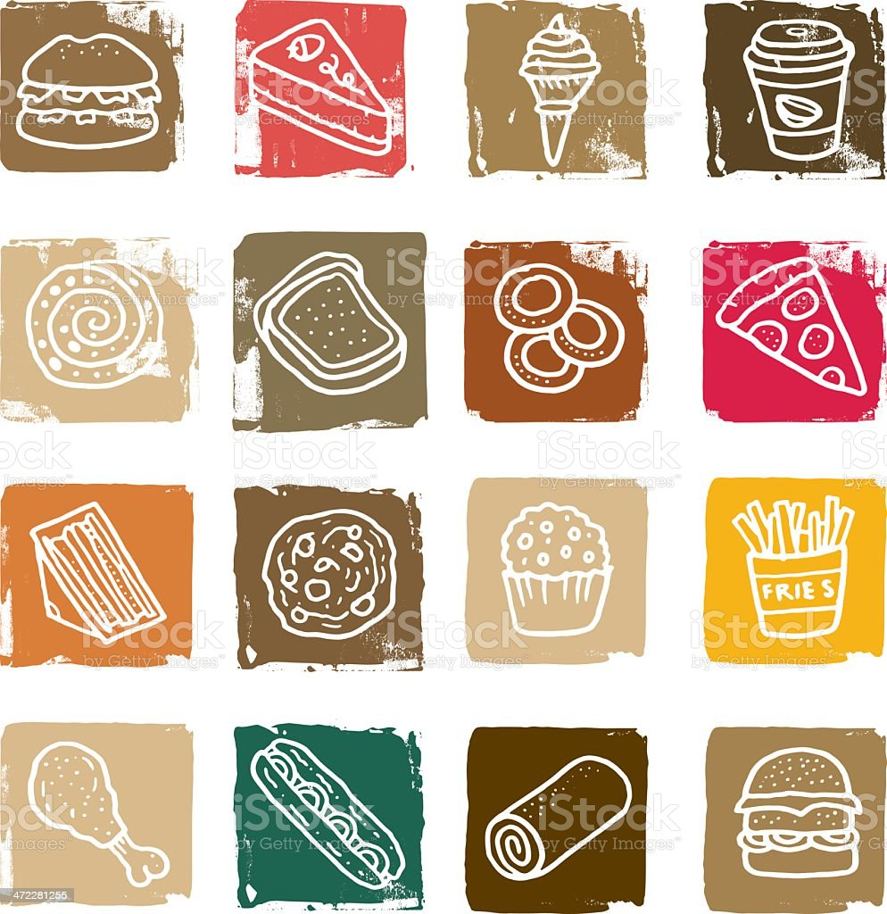 Doodle food icon block set royalty-free stock vector art