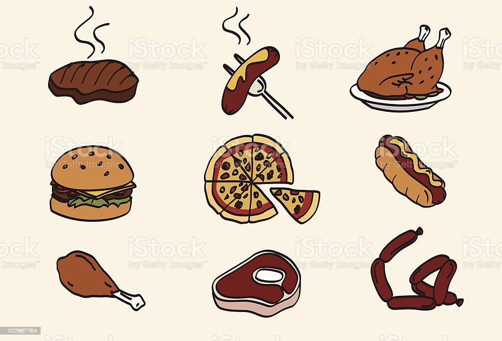 Doodle food icon set vector art illustration