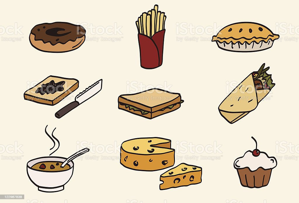 doodle food icon set vector art illustration