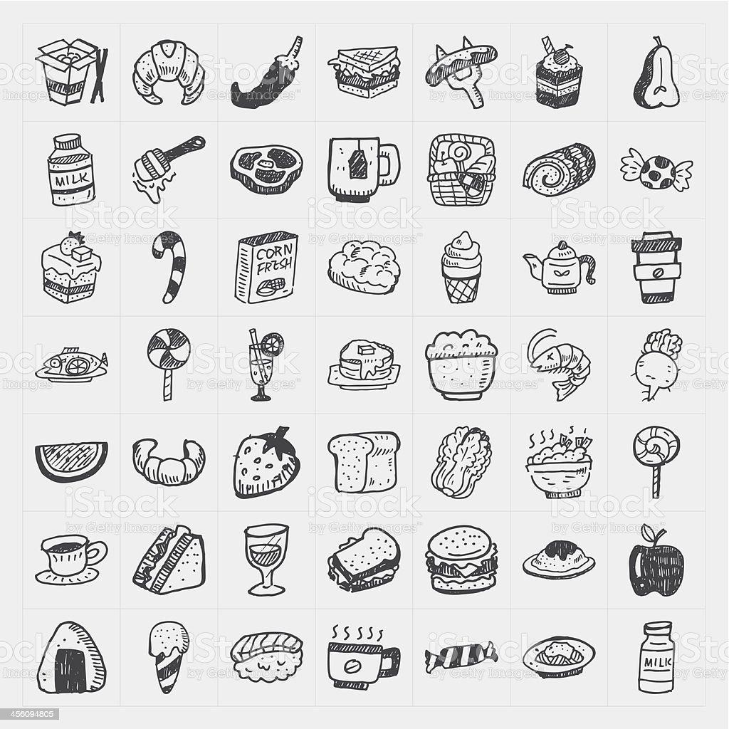 doodle food icons set vector art illustration