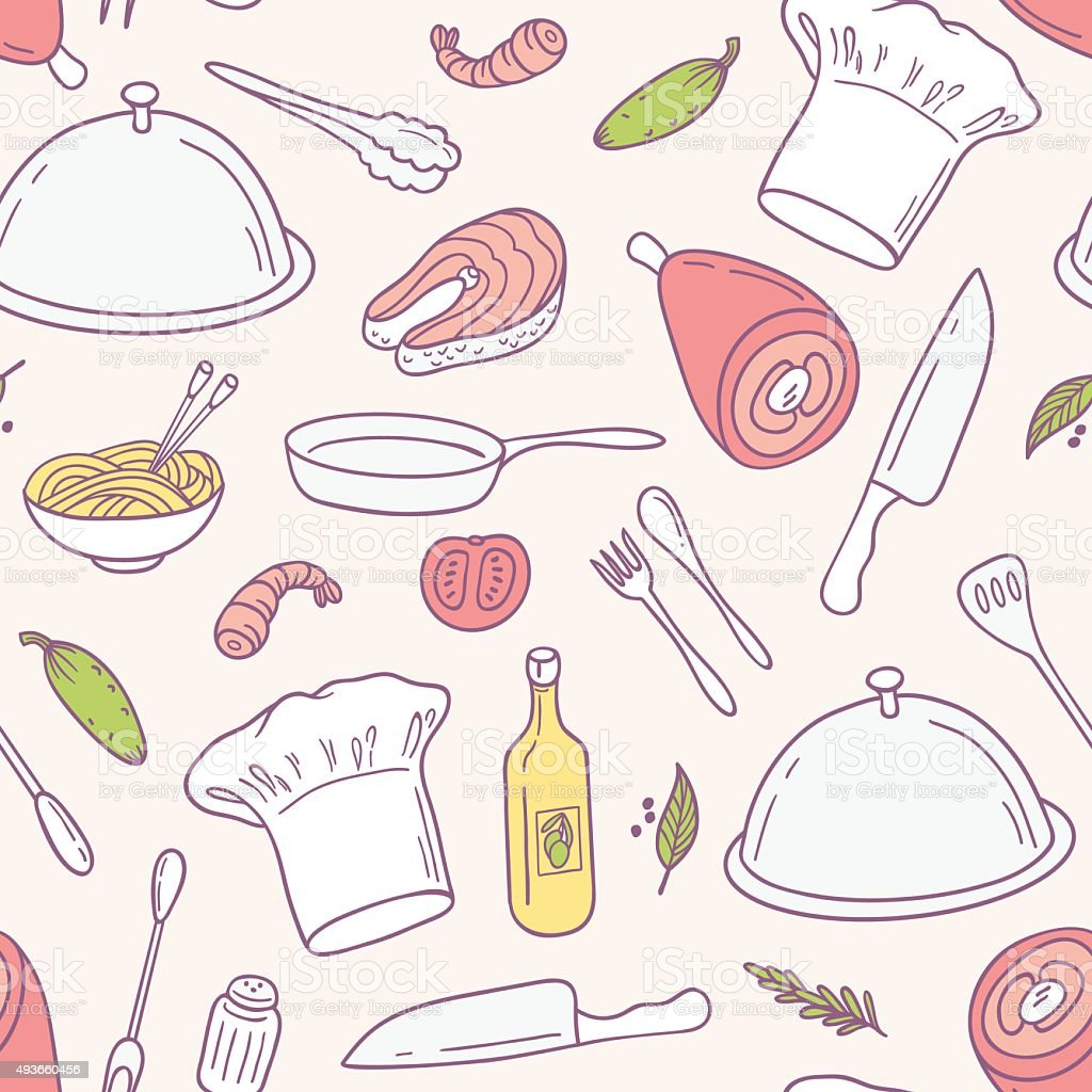 Doodle food seamless pattern in vector. Culinary background vector art illustration
