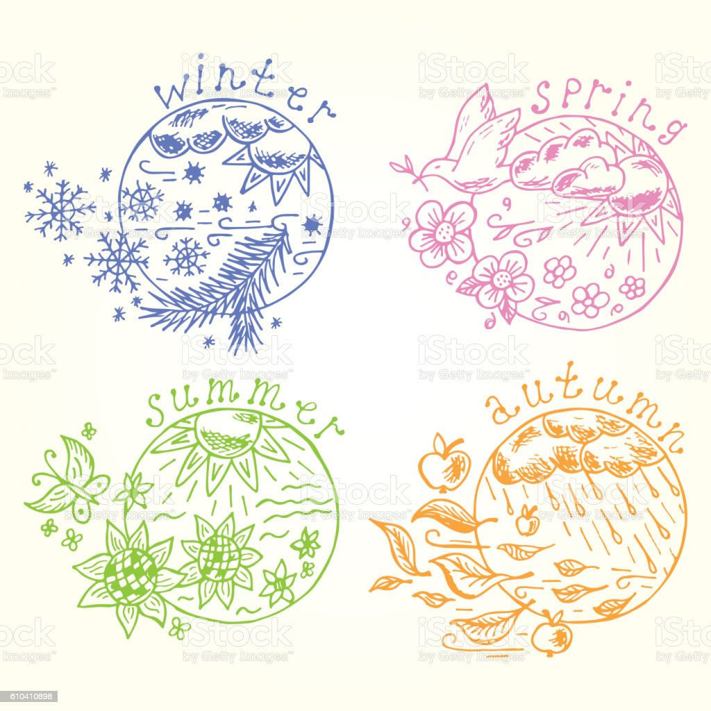 Doodle Four seasons icons. Seasons set. Times of year. Weather. vector art illustration