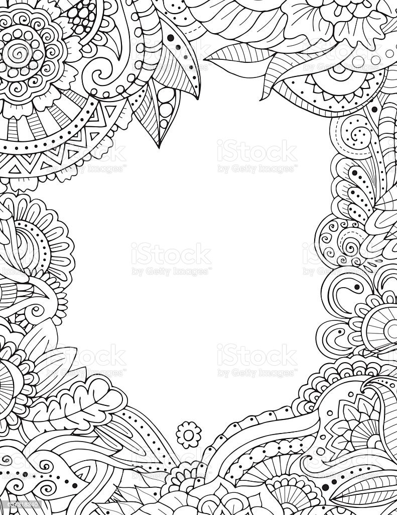 Doodle frame isolated on white vector art illustration