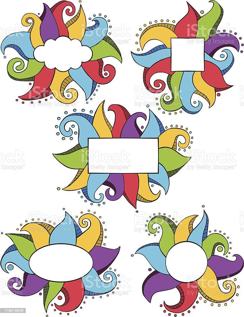 Doodle Frames Color vector art illustration
