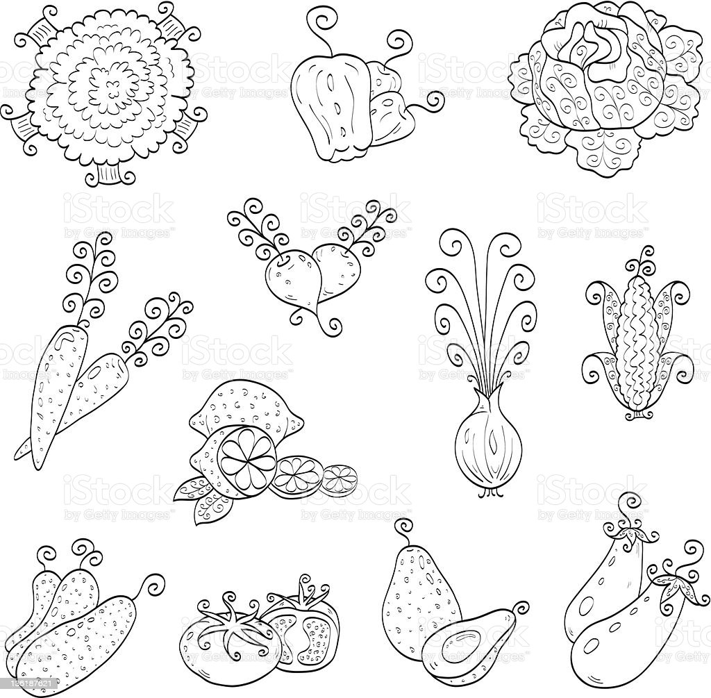Doodle fruits, vegetables royalty-free stock vector art