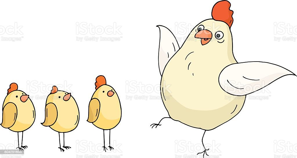 Doodle funny hen and chikens standing together vector art illustration