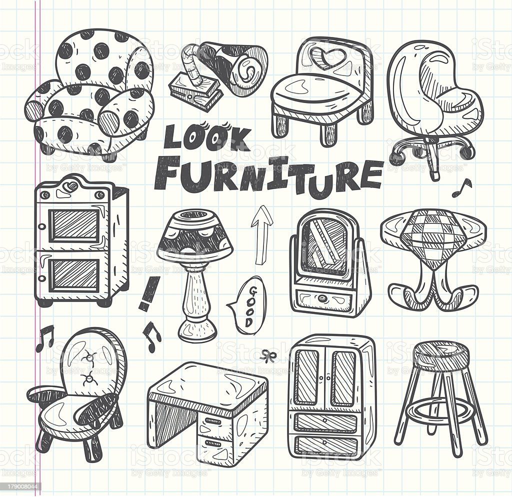 doodle Furniture icons royalty-free stock vector art