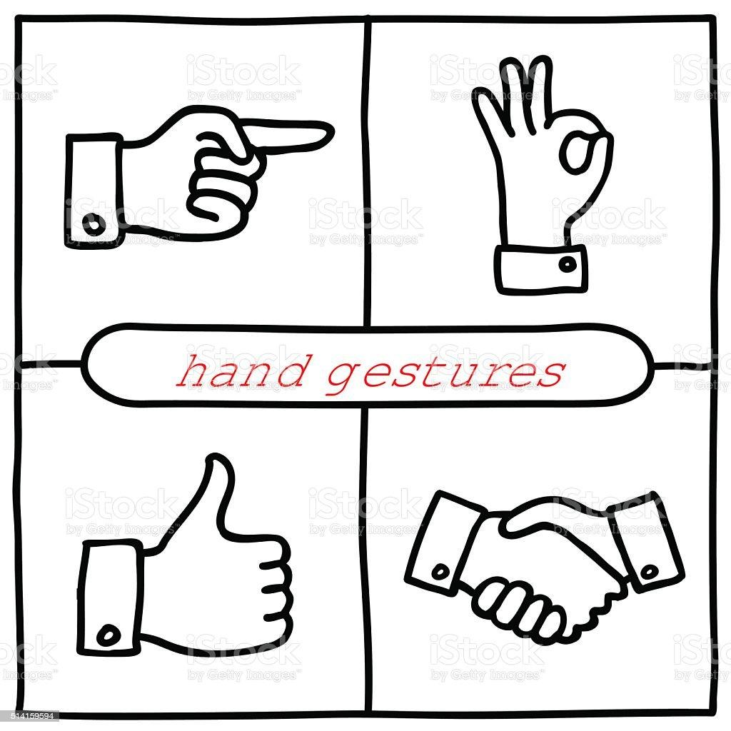 Doodle gestures icons set vector art illustration