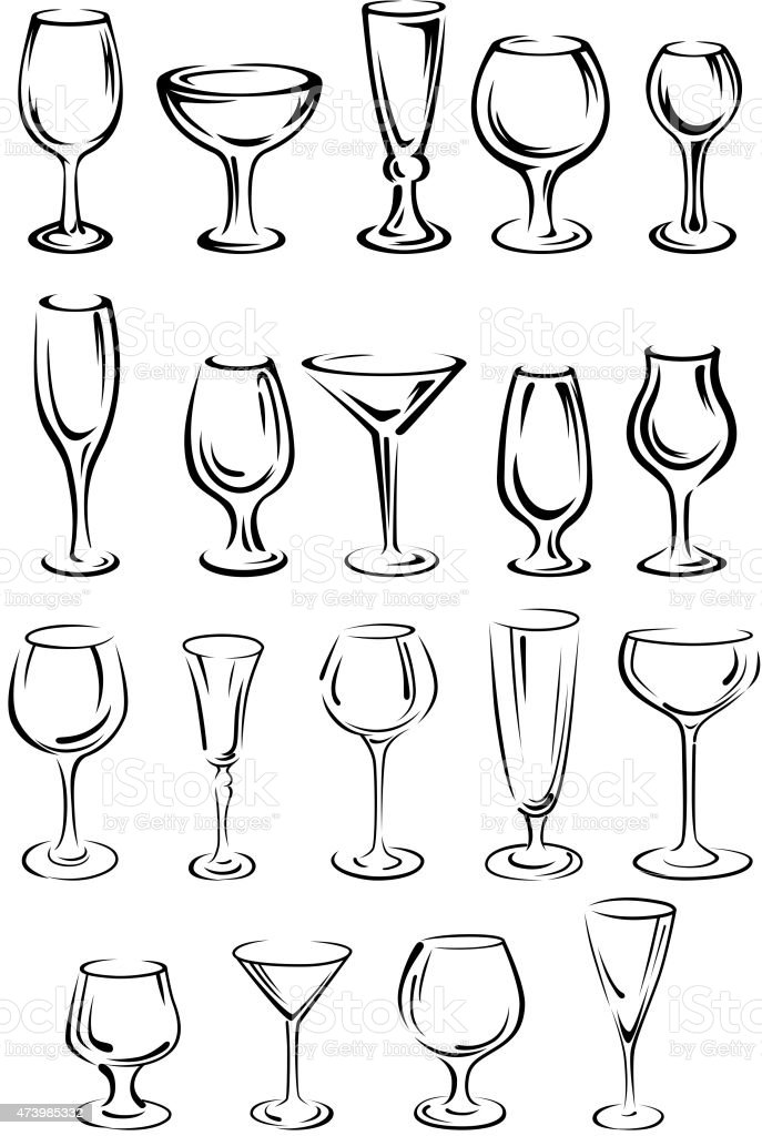 Doodle glassware and dishware sketches set vector art illustration