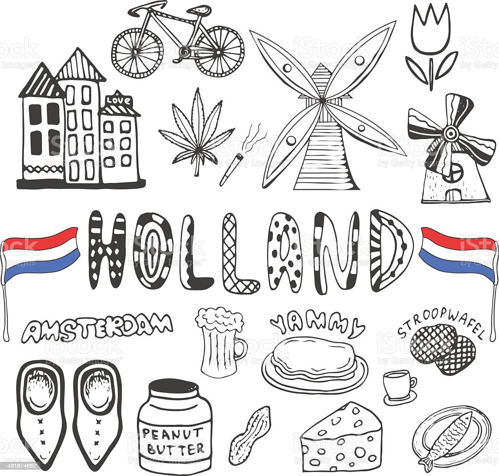 Doodle hand drawn collection of Holland icons. Netherlands vector art illustration