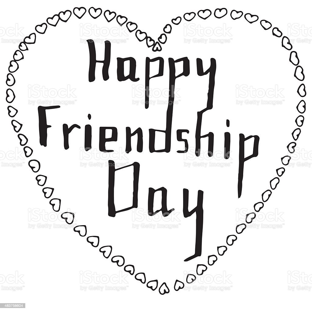 Doodle hand drawn design for a friendship day vector art illustration