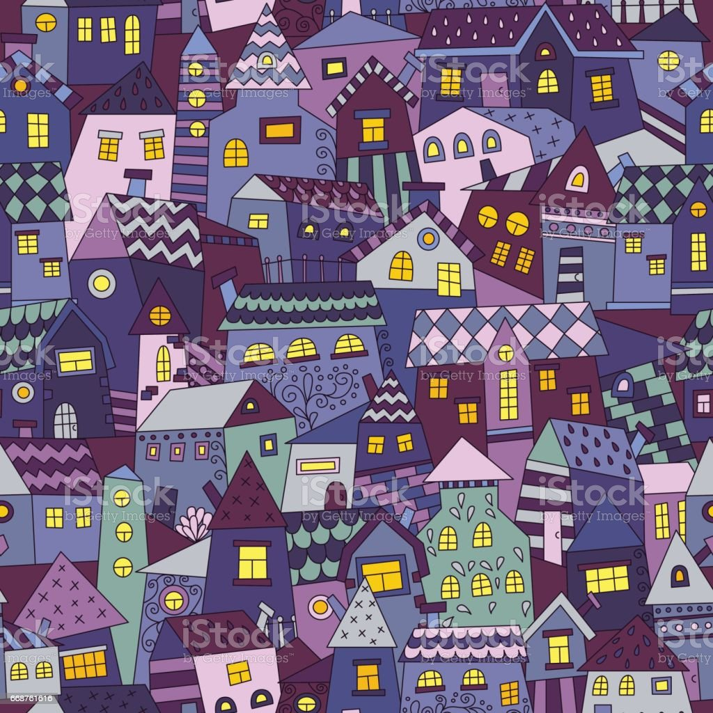 Doodle hand drawn town seamless pattern. vector art illustration