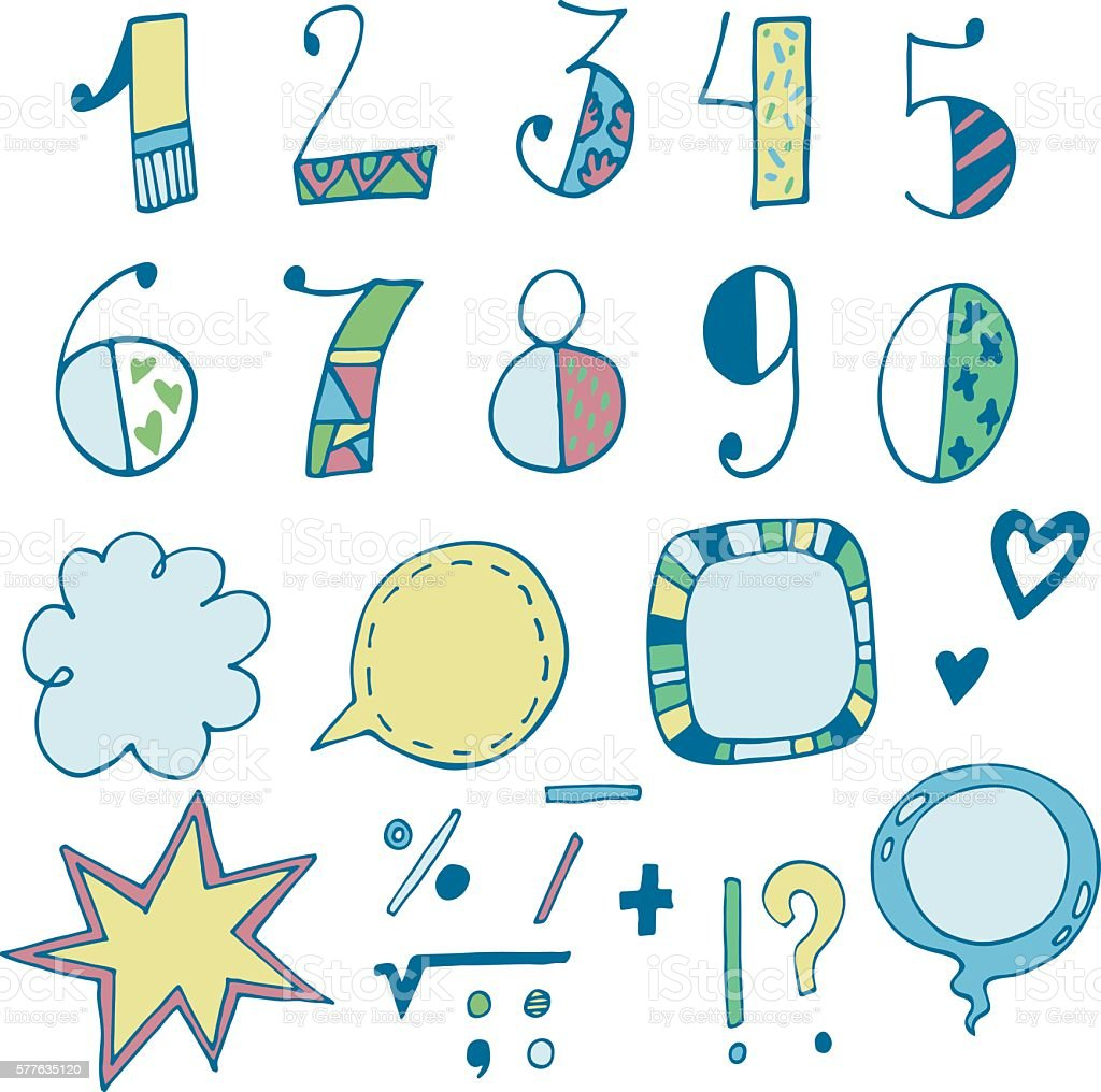 Doodle hand drawn vector numbers and speech bubbles vector art illustration