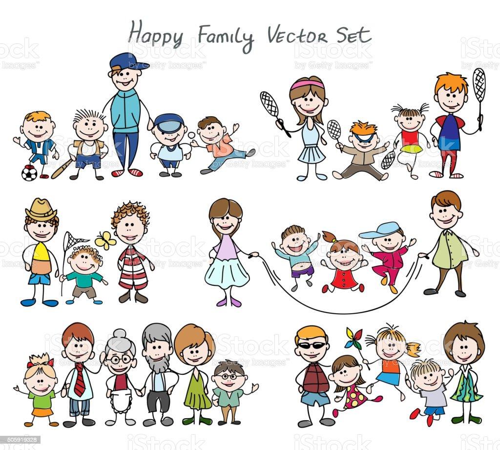 Doodle happy family sketch vector art illustration
