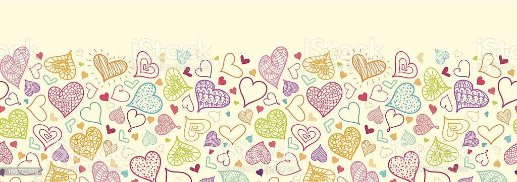 Doodle Hearts Horizontal Seamless Pattern Ornament royalty-free stock vector art