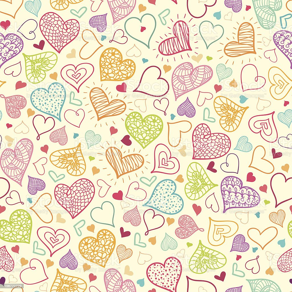 Doodle Hearts Seamless Pattern Background royalty-free stock vector art