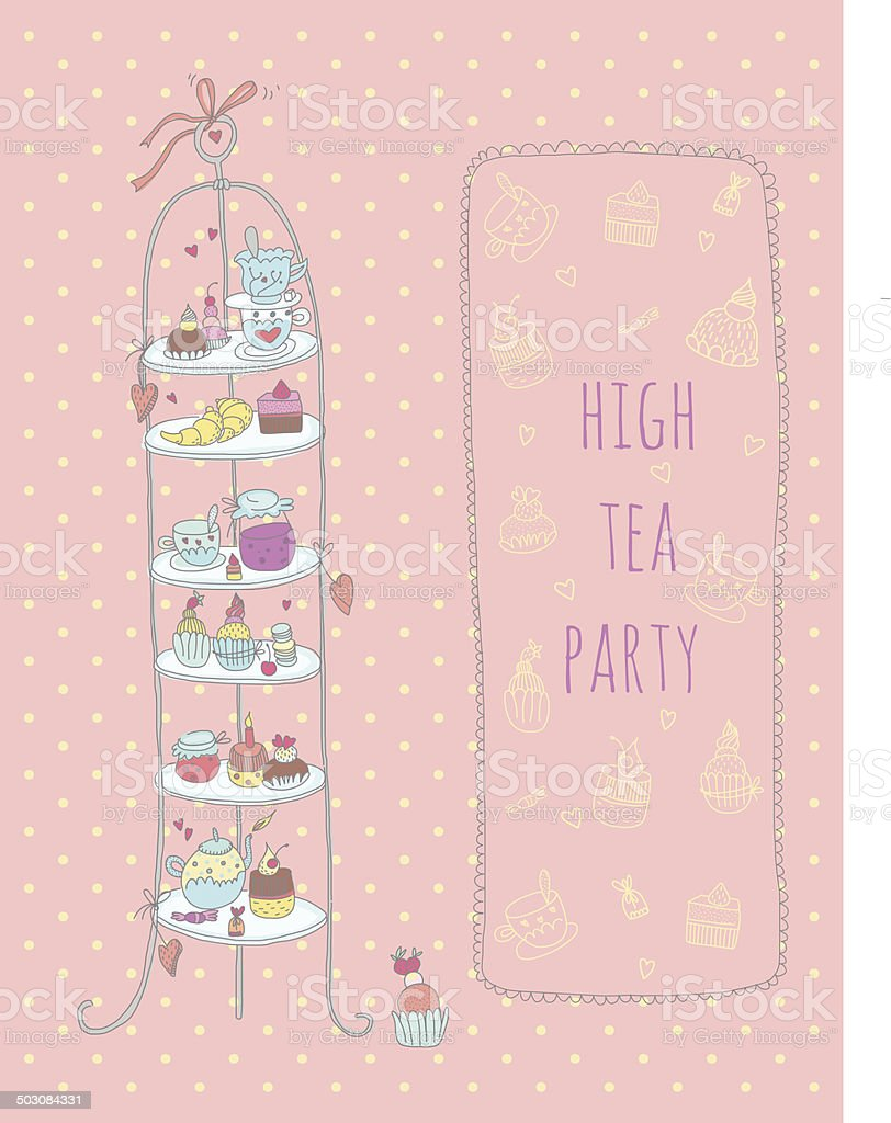 Doodle high tea party invitation vector art illustration