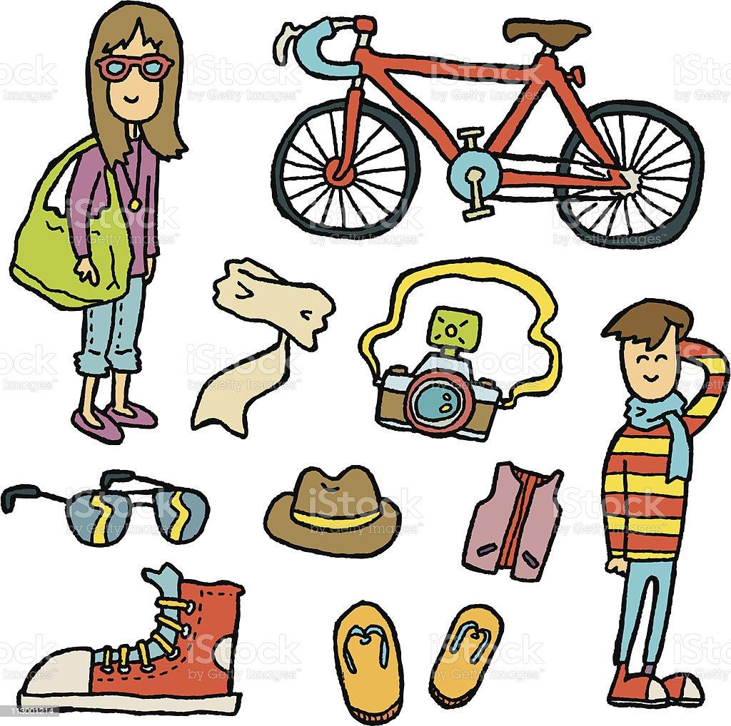 Doodle Hipster vector art illustration