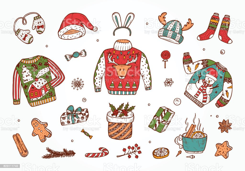Doodle Holiday set. Ugly Christmas Sweater Party. Vector Xmas elements vector art illustration