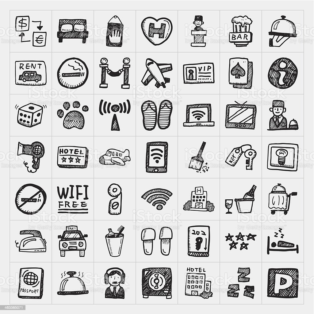 doodle hotel icons set royalty-free stock vector art