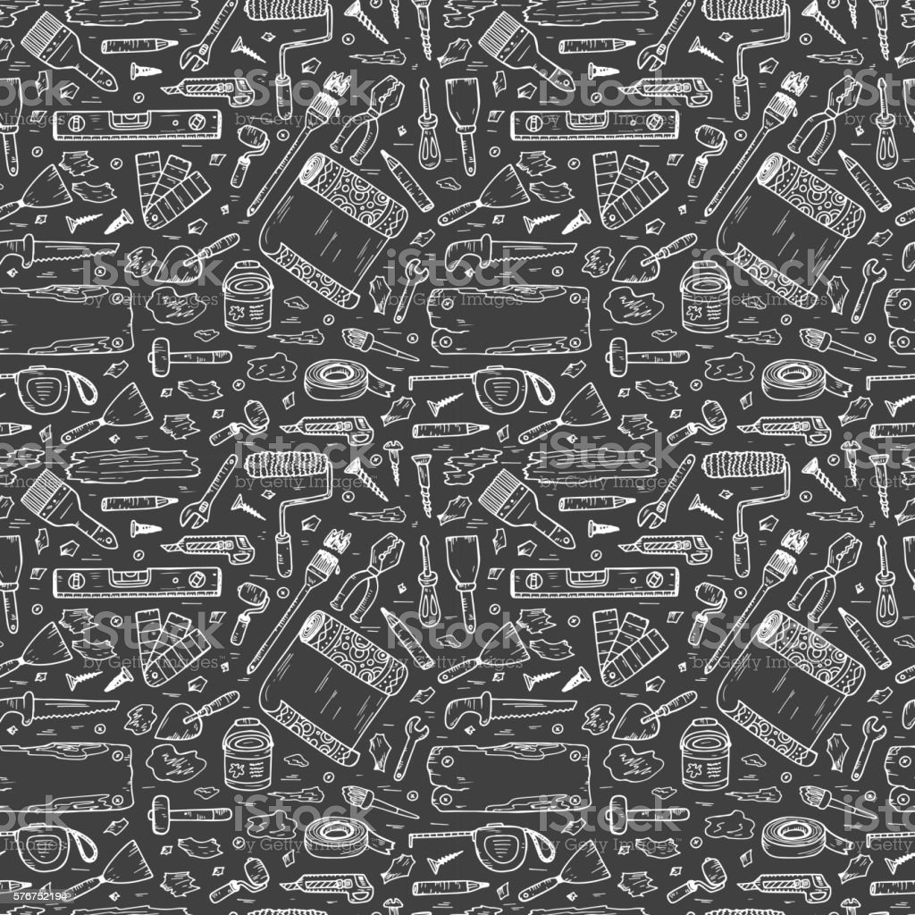 Doodle House repair Tools. Home improvement Seamless pattern. Housework. vector art illustration