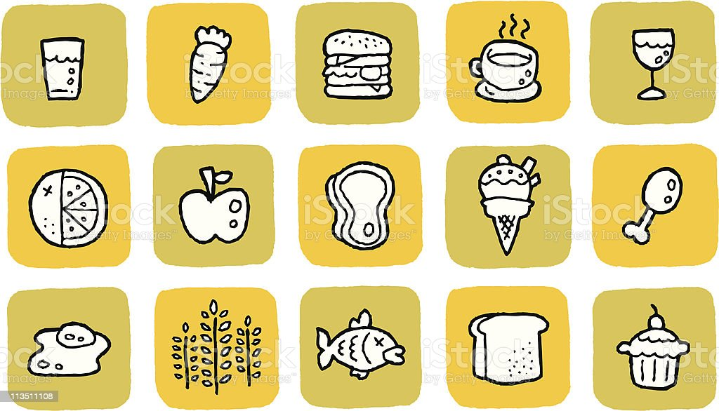 Doodle Icon Set - Food royalty-free stock vector art