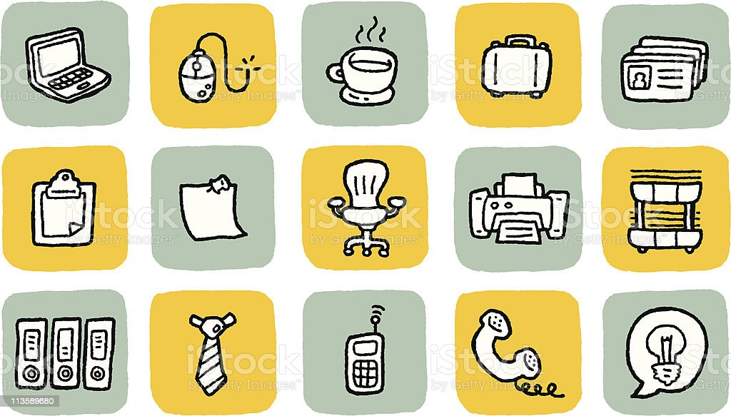 Doodle Icon Set - Office royalty-free stock vector art