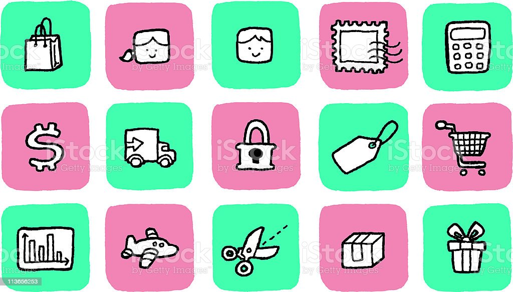 Doodle Icon Set - Shopping vector art illustration