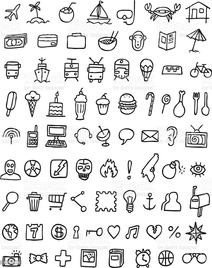 Doodle Icons Universal Set vector art illustration