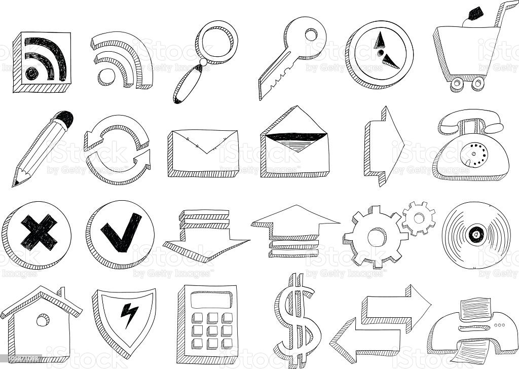 Doodle icons royalty-free stock vector art