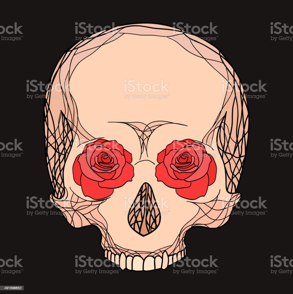 Doodle illustration of a human skull with roses vector art illustration