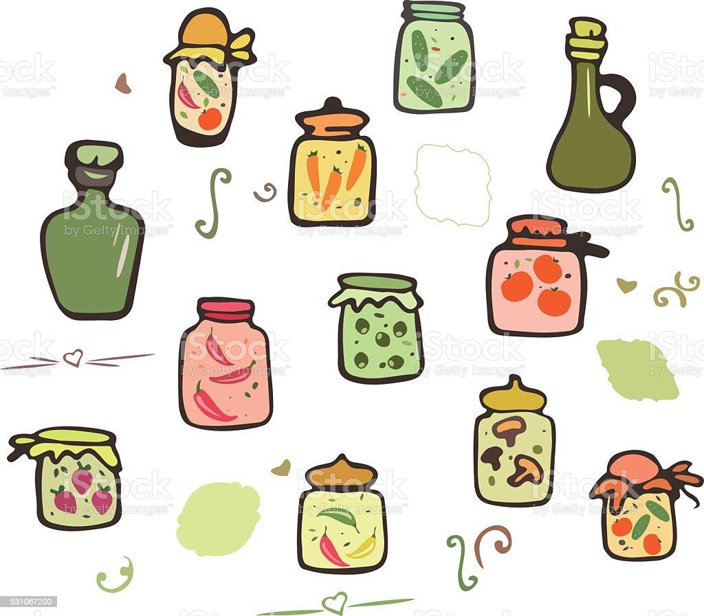 Doodle Jars vector set vector art illustration