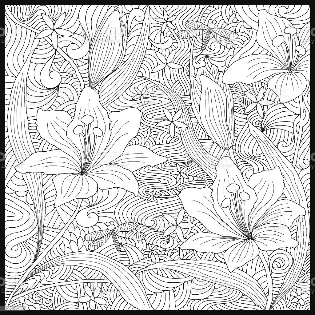 Doodle lily of the valleys vector art illustration