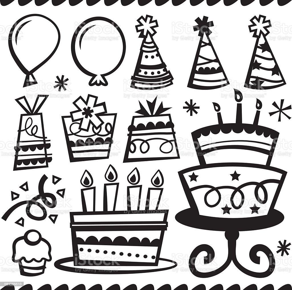 Doodle Line Retro Party Elements vector art illustration