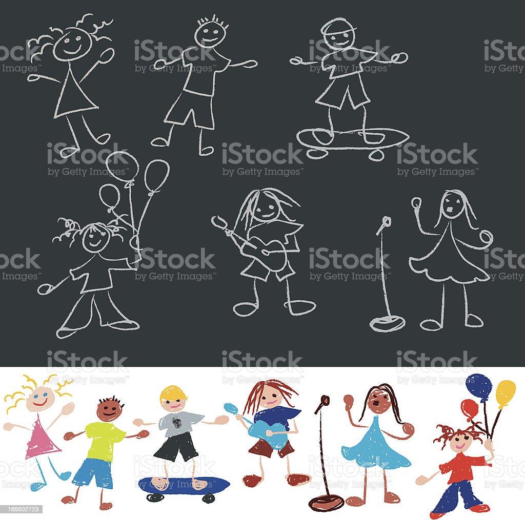 Doodle line stick figure kids. royalty-free stock vector art