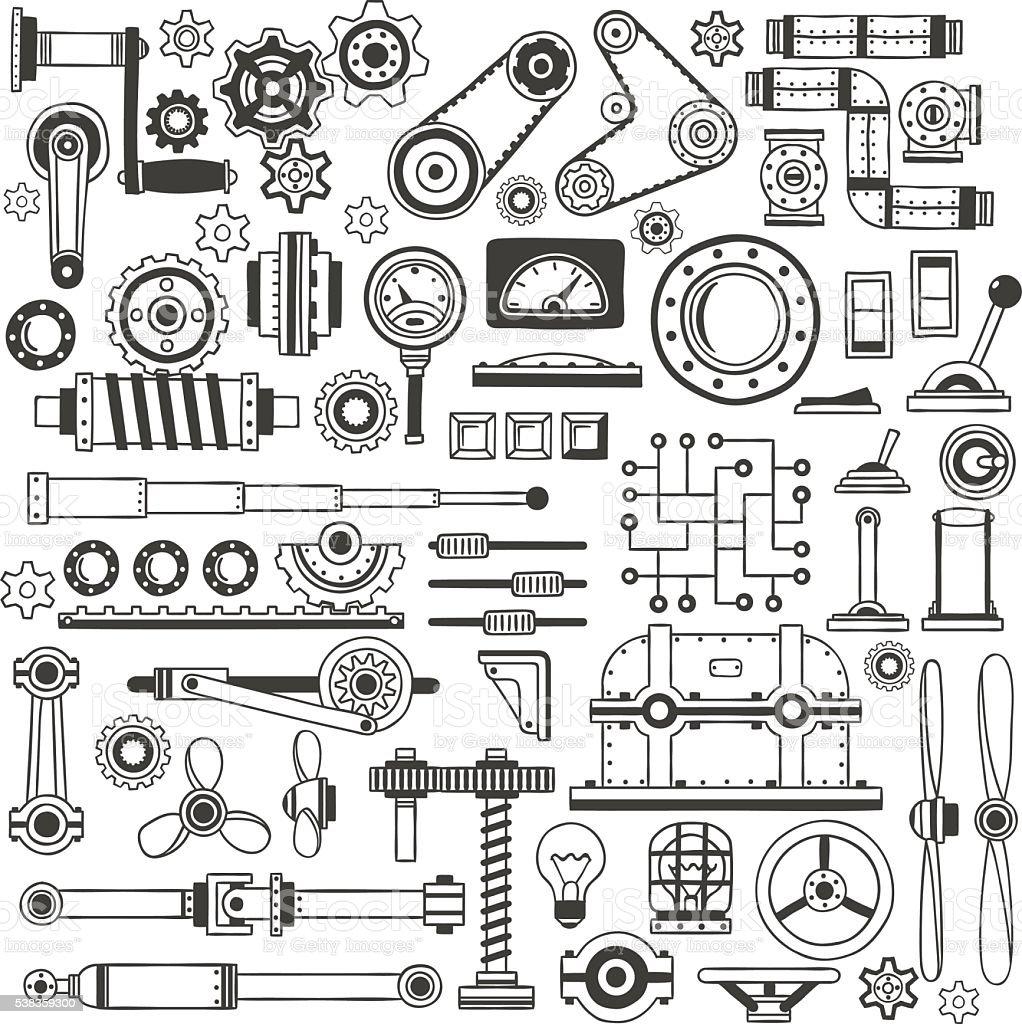 doodle machine parts 1 vector art illustration