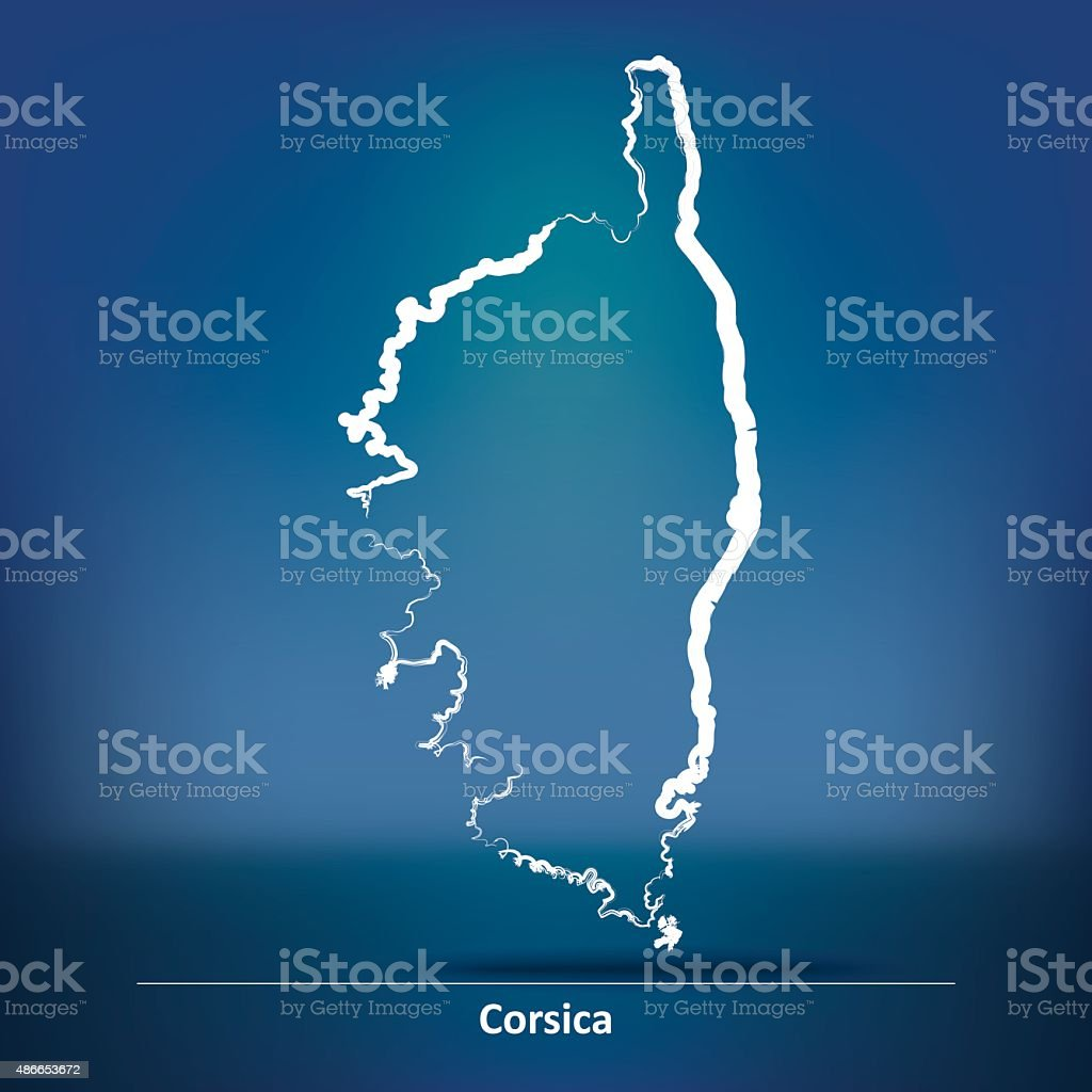 Doodle Map of Corsica vector art illustration