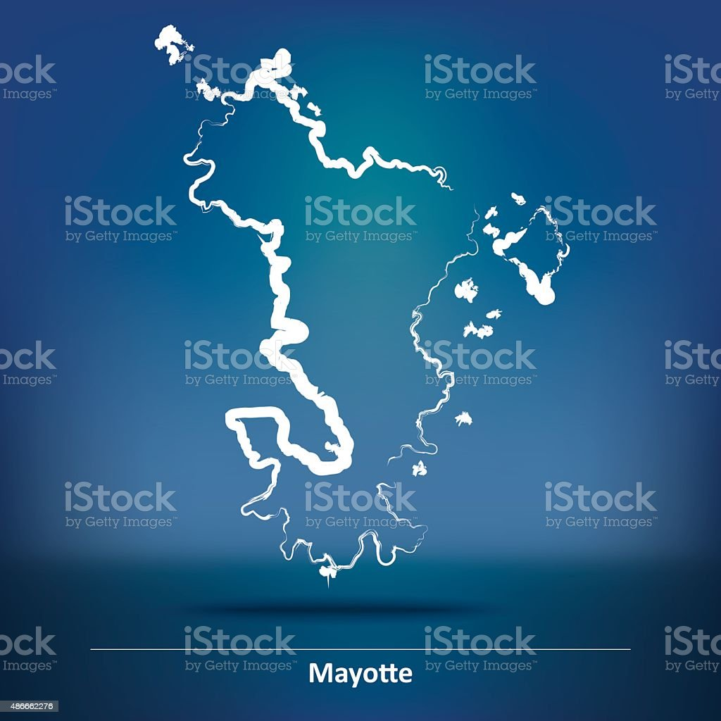 Doodle Map of Mayotte vector art illustration