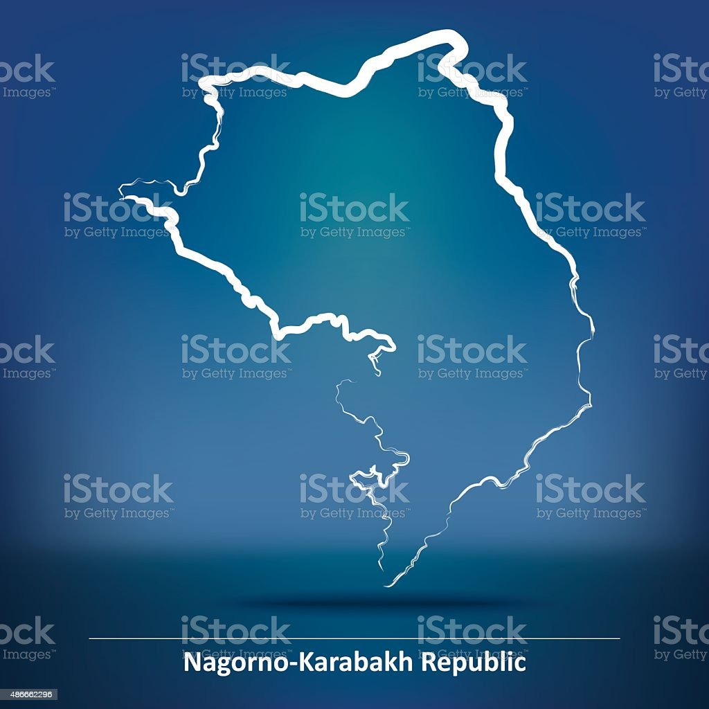 Doodle Map of Nagorno-Karabakh Republic vector art illustration