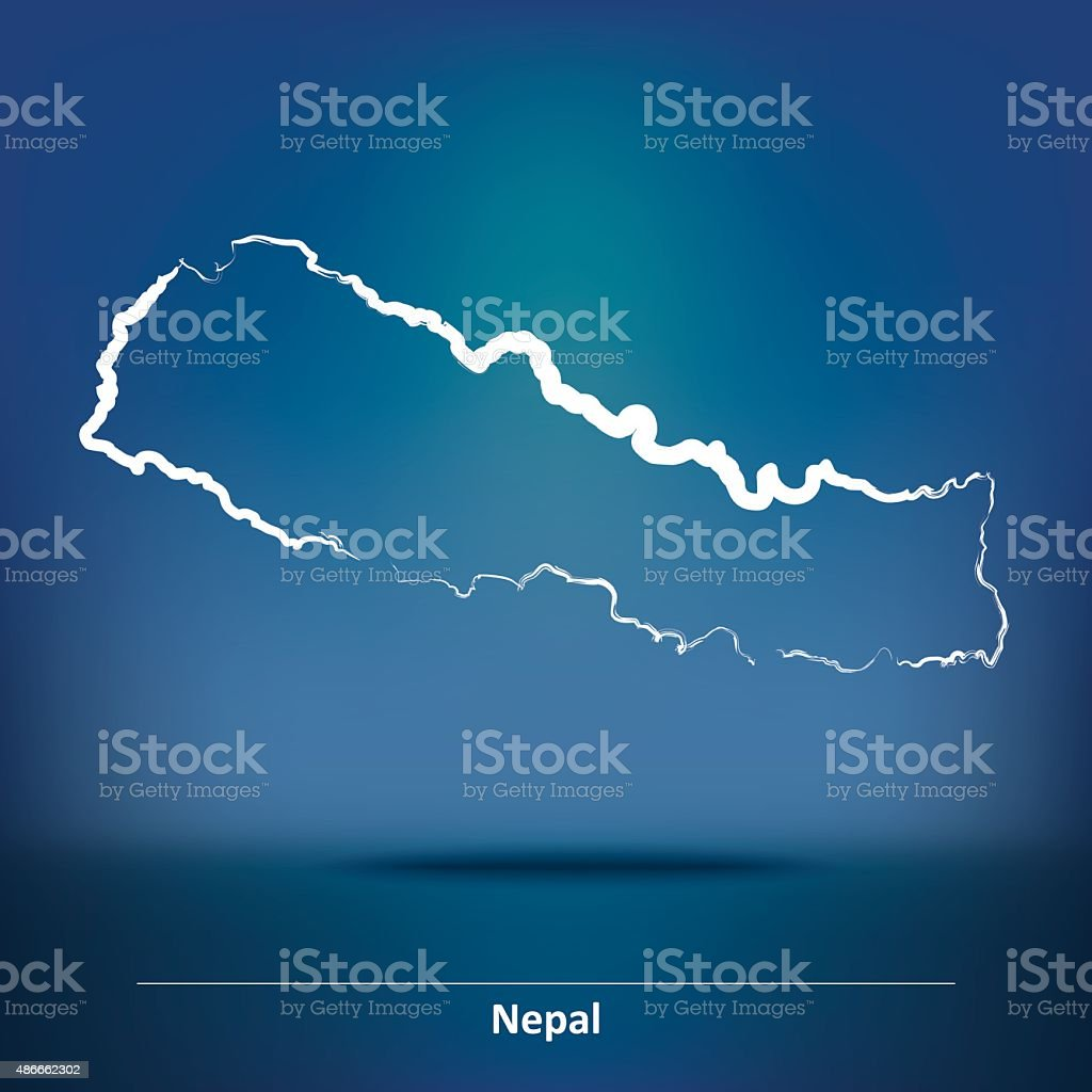 Doodle Map of Nepal vector art illustration