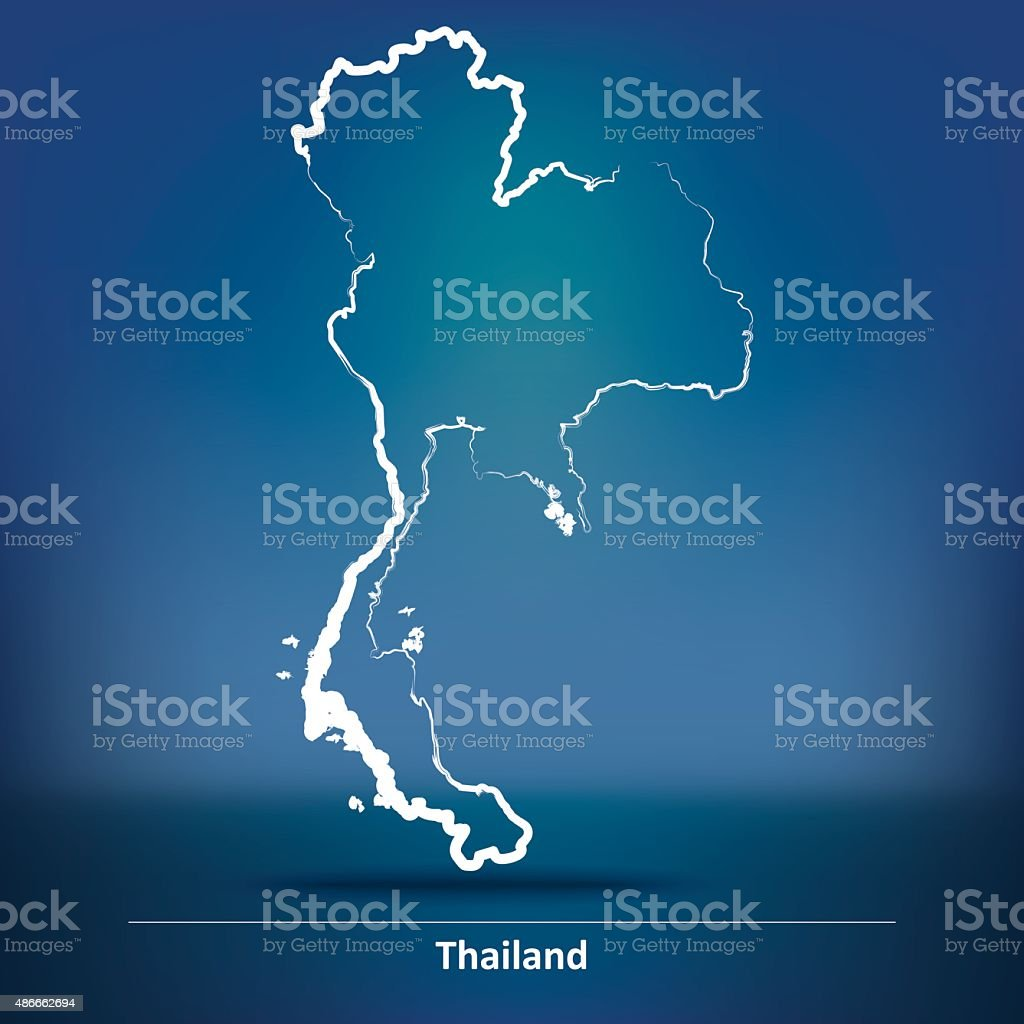 Doodle Map of Thailand vector art illustration