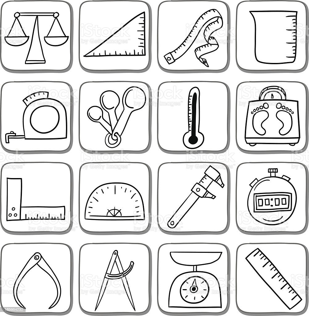 Doodle measurement icon set in black and white royalty-free stock vector art