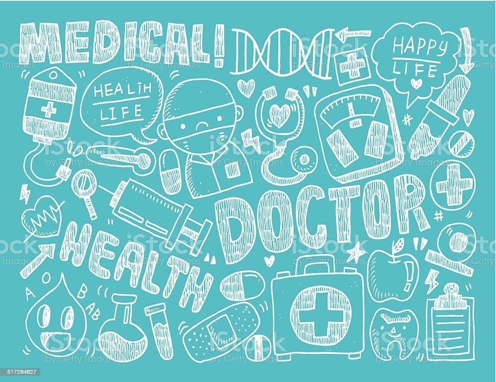 doodle medical background vector art illustration