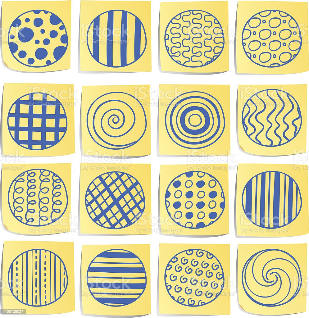 Doodle memo icon set - Circle with pattern royalty-free stock vector art