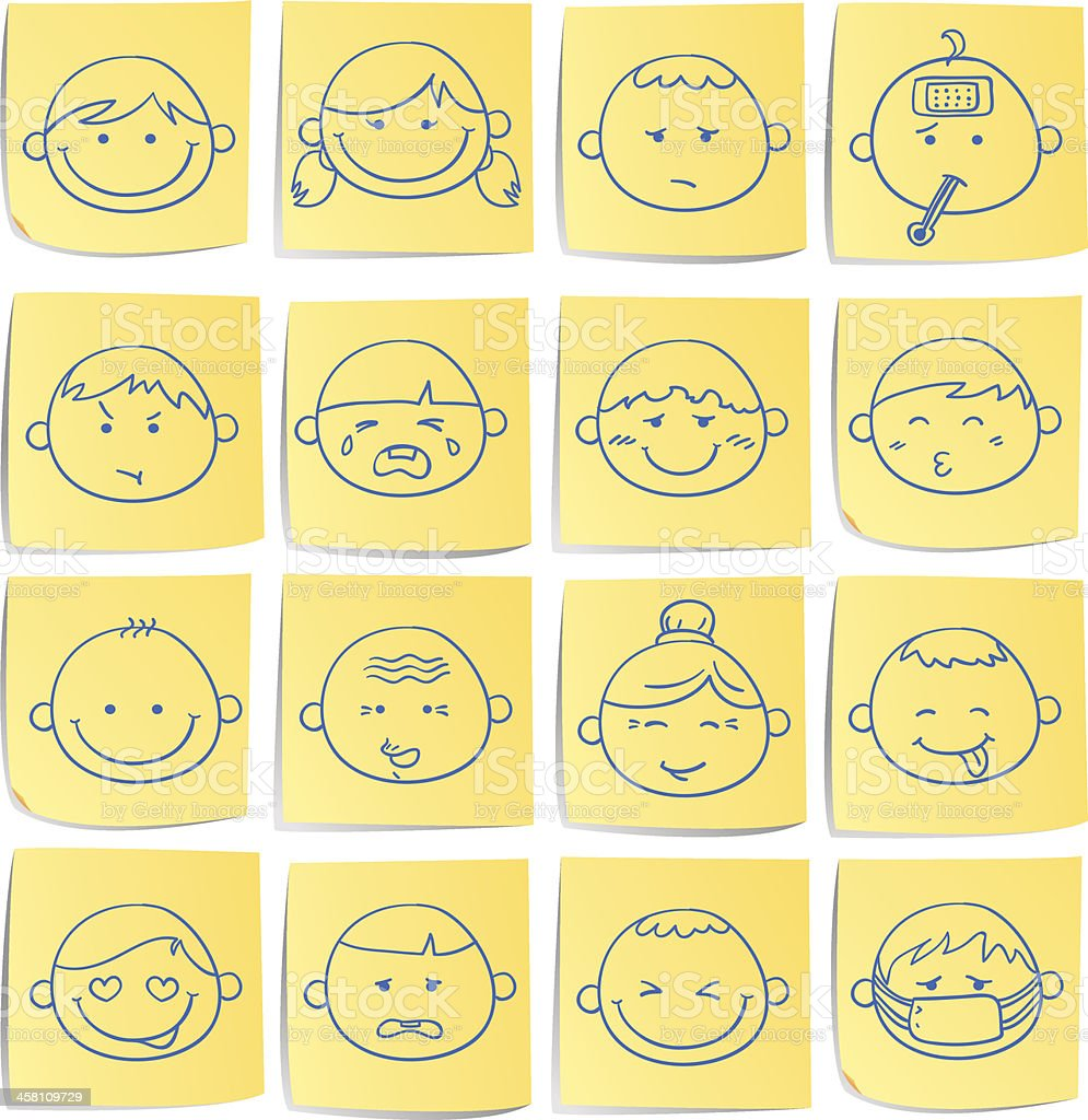 Doodle memo icon set - facial expression vector art illustration