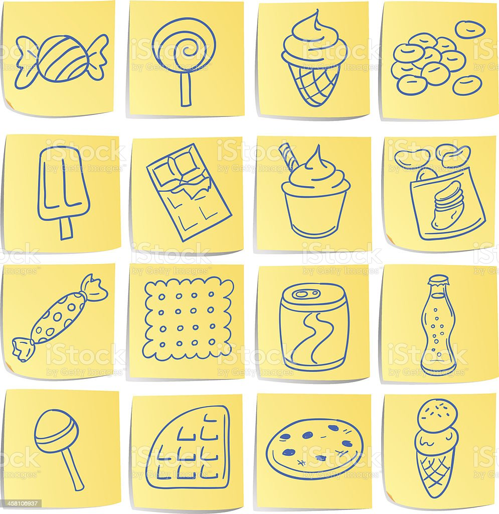 Doodle memo icon set - Snacks vector art illustration