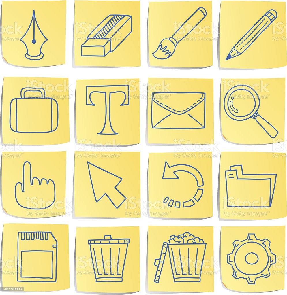 Doodle memo icon set - tools royalty-free stock vector art