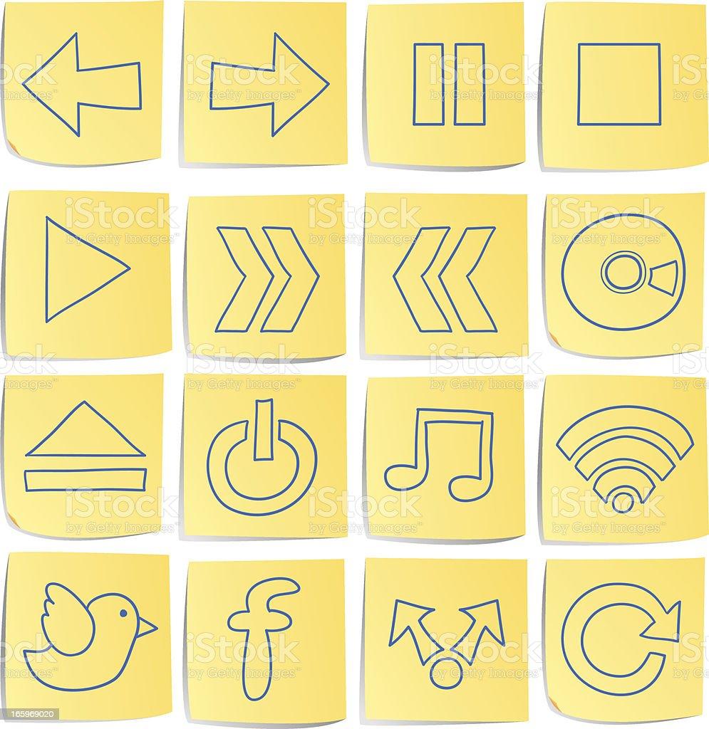 Doodle memo icon set vector art illustration